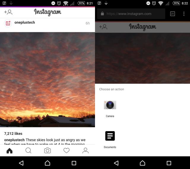 Instagram mobile web screenshots