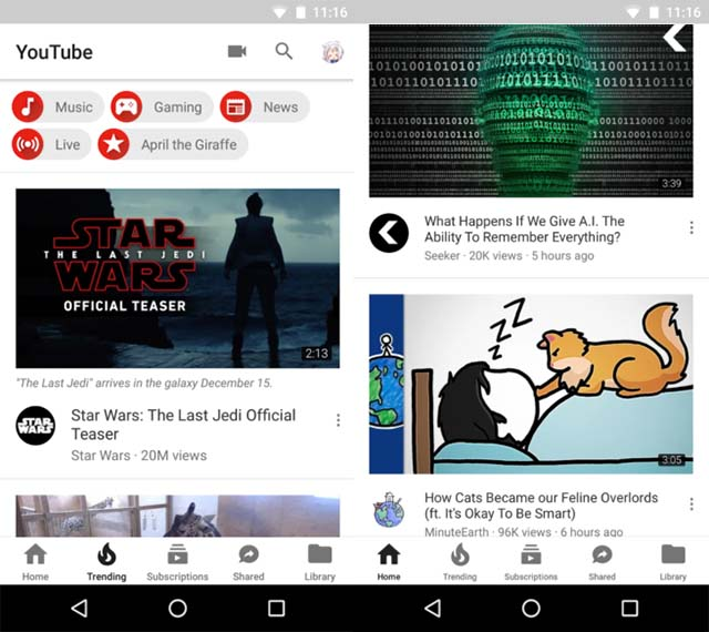 youtube bottom navigation