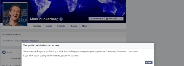 mark zuckerberg block facebook