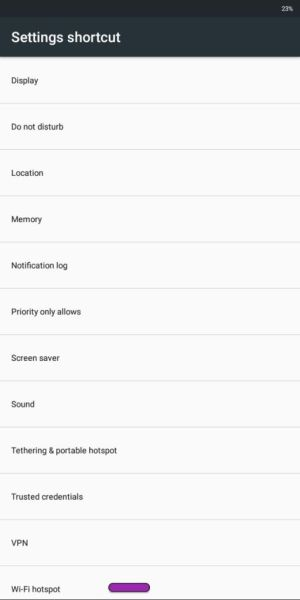 Android settings shortcut