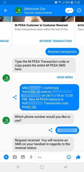 Safaricom Zuri M-Pesa Reversal
