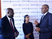 (R-L) Dr Moka Lantum CEO Sagitarix , Dr Tanvi Sha CEO & Co-founder The Pill Shop and Peter Munyasi Sanofi Kenya Country Chair and General Manager GEM during the launch of the 2019 Vivatech Challenge
