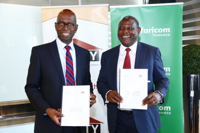 Bob Collymore (L) and Dr. James Mwangi (R)
