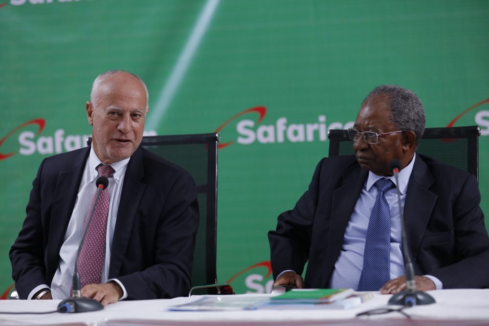 Safaricom interim CEO Michael Joseph and Chairman Nicholas Nganga ...