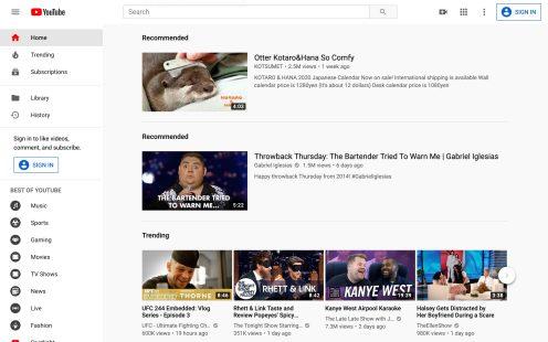 YouTube Web Homepage Bug