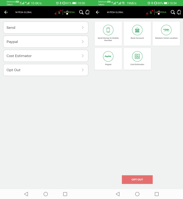 mpesa global new user interface