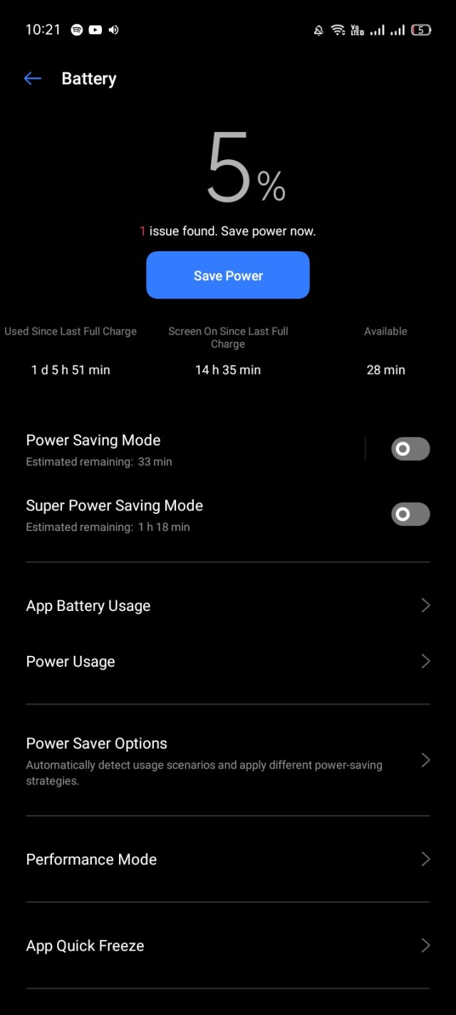realme C15 battery life