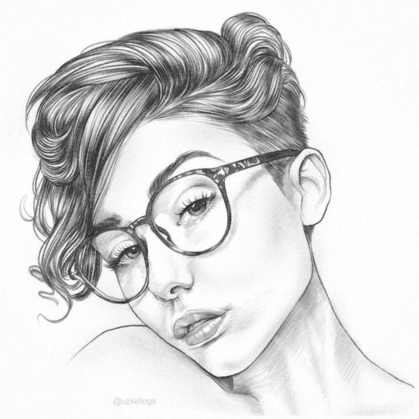 Desenho de foto girl.