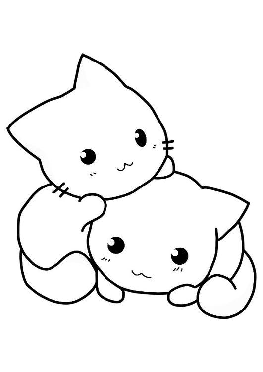 Desenho de gatinhos kawaii