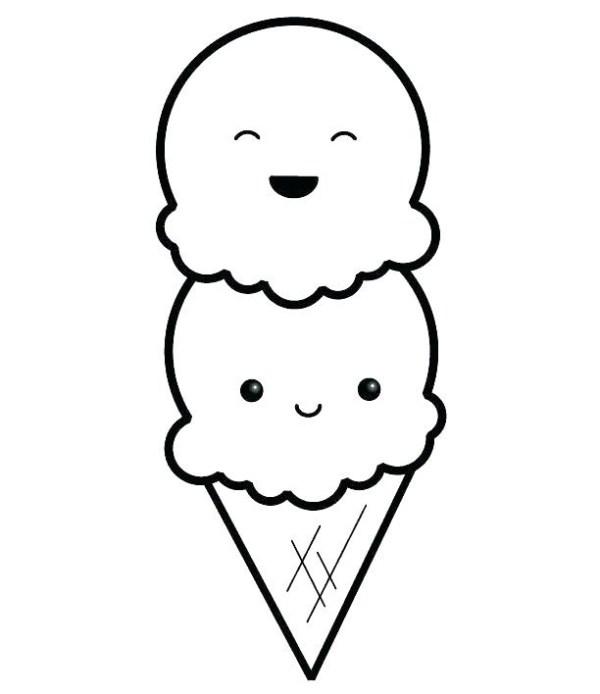Desenho de sorvete fofo para colorir