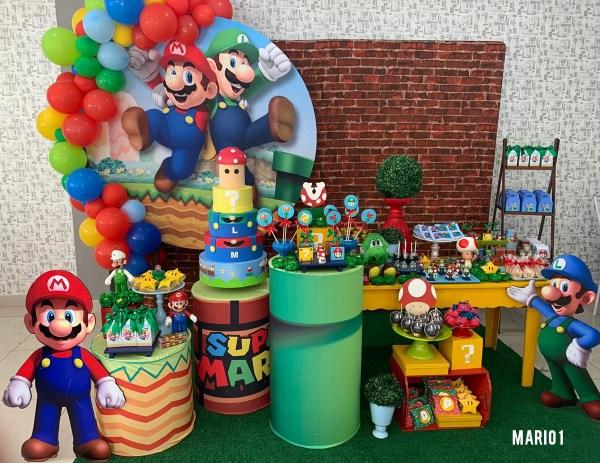 Decoração linda do Super Mario.