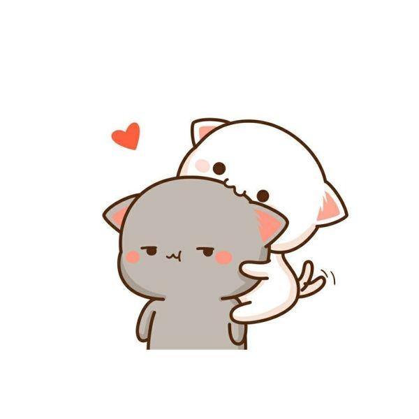 Desenho de dois gatinhos fofos.