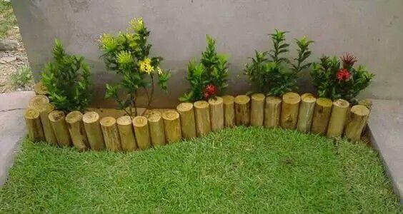 delicado jardim com madeira