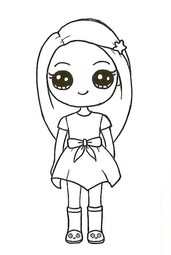 linda menininha kawaii para colorir