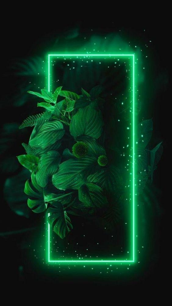 Papel de parede neon verde