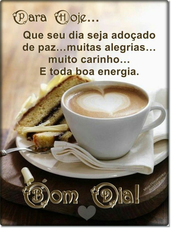 Bom dia com café paz e flores
