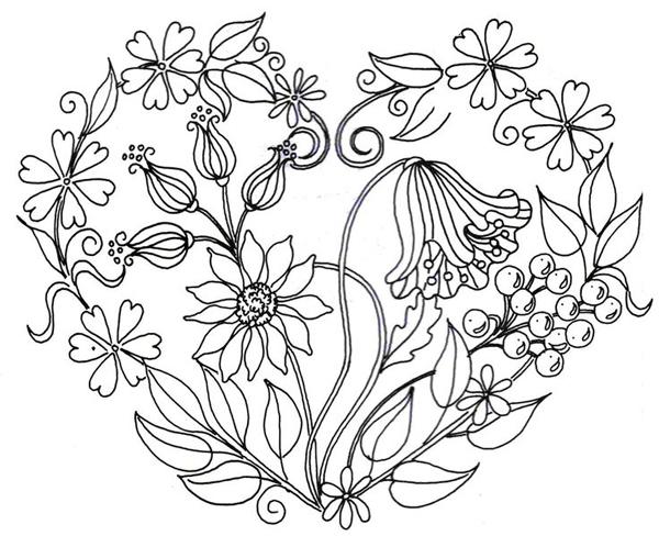 desenho coração de flores