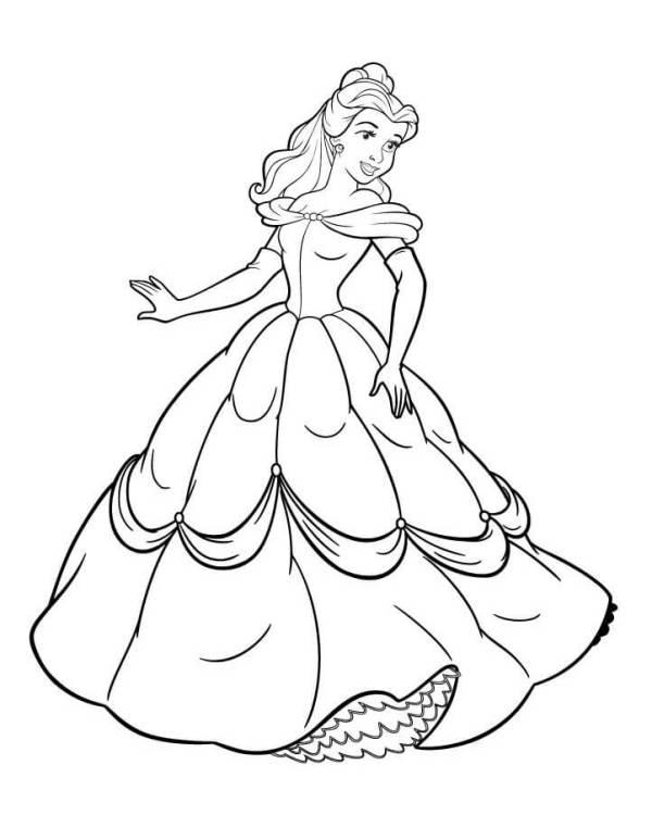 Desenho da Bela para colorir