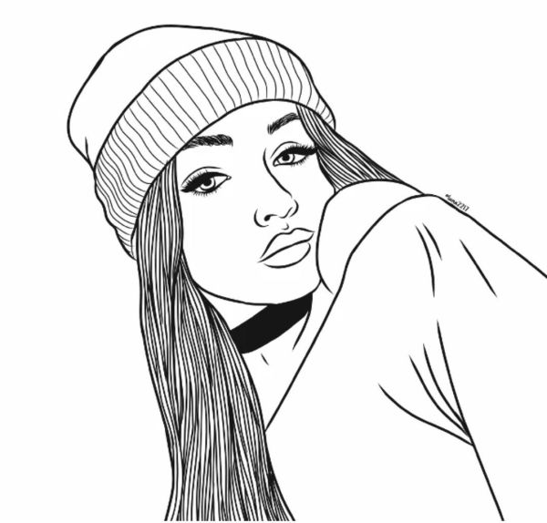 Desenho para colorir menina