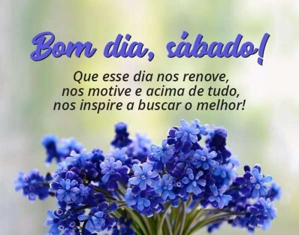 mensagens e gifs de sábado flor azul