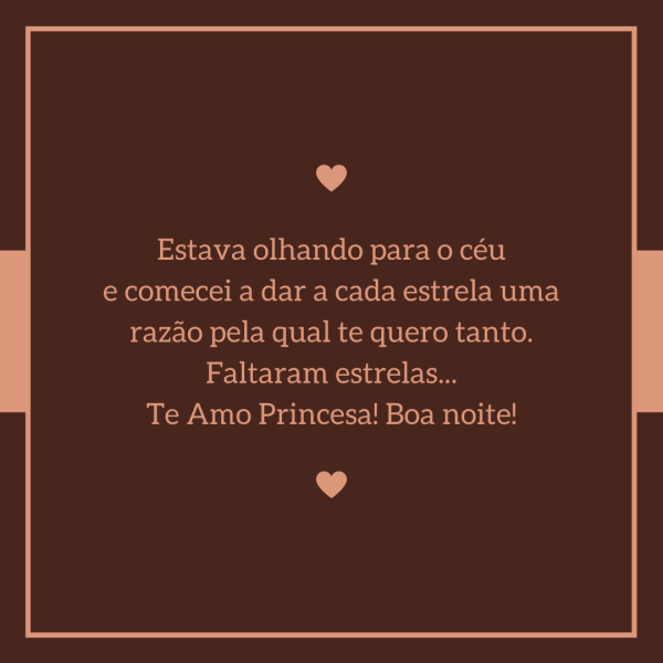 Boa noite minha linda princesa