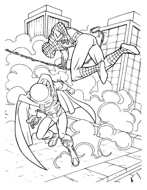 Desenhos do Homem aranha na luta