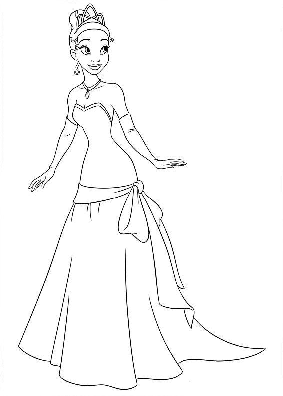 Princeasa Tiana com vestido lindo para desenhar