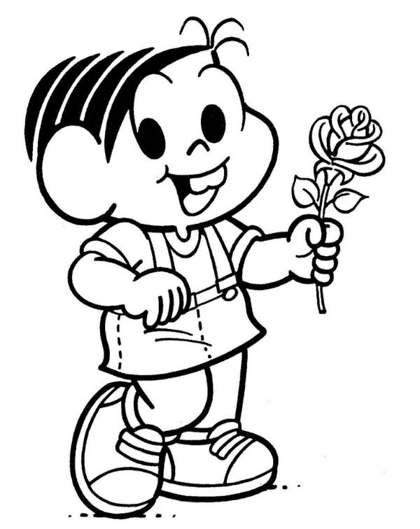 Mônica linda com rosa Cebolinha baby brincando Desenho turma da Mônica