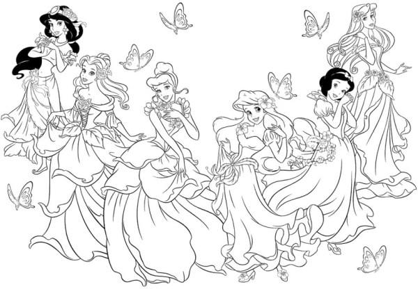 todas as princesas para desenhar e pintar