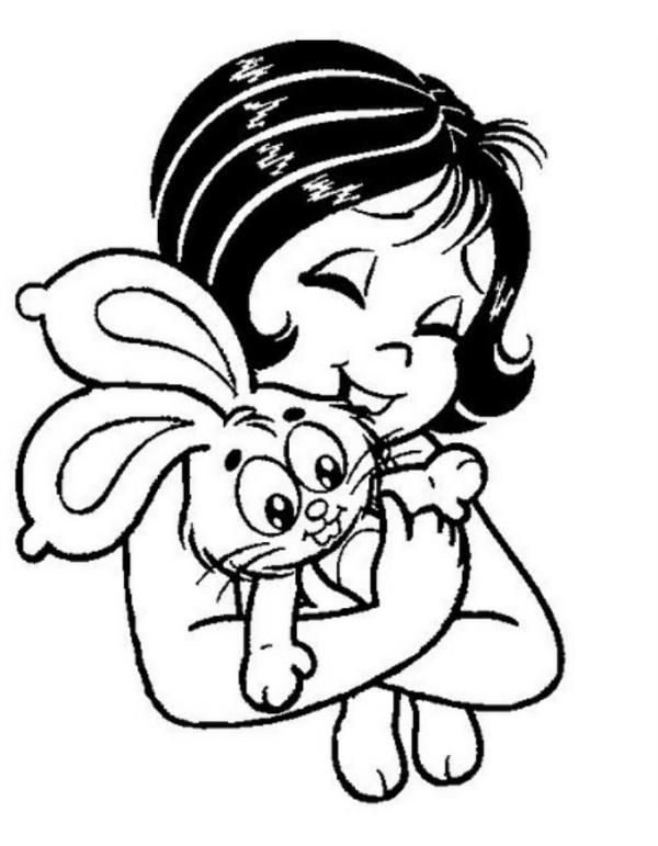 Desenhos para Colorir da Turma da Mônica Jovem com o seu coelho