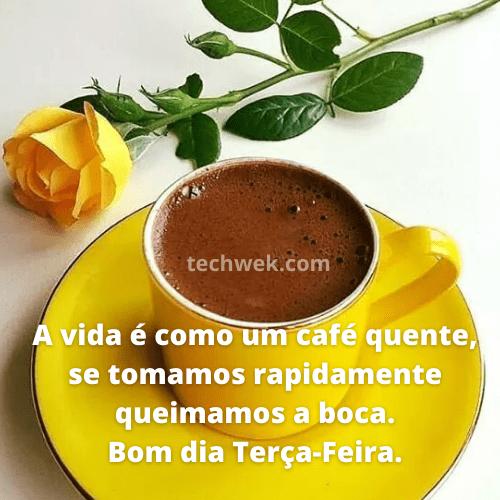 café com frases de bom dia