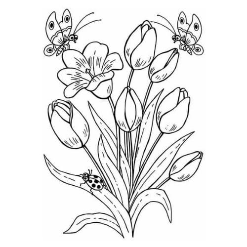Desenho perfeito para imprimir e colorir com flores