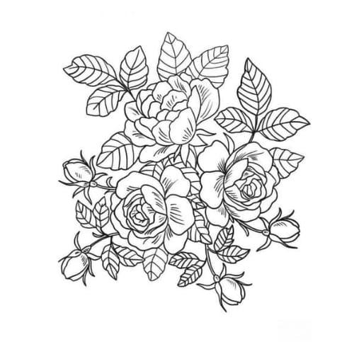 Belo desenho com flores para imprimir e colorir