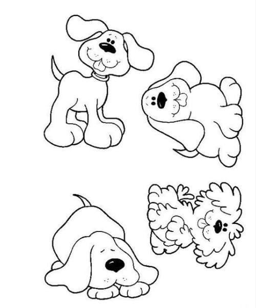 Imagem perfeita com desenho de cachorro fofo e divertido para colorir