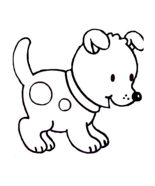 Desenho de cachorro fofo e perfeita para colorir