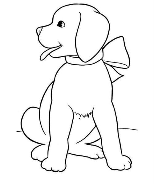 Desenho de cachorro fofo para as crianças colorir e se divertir