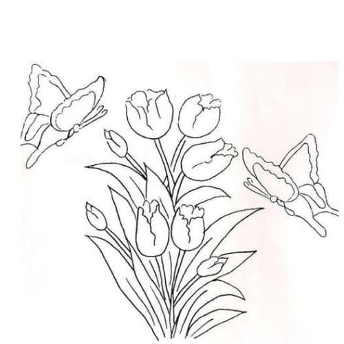 Imagem com desenho de flores e borboletas para colorir e imprimir