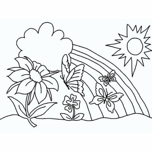 Desenhos de Arco-íris Sol e Nuvens iluminada