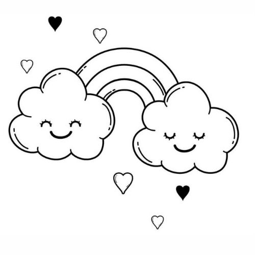 Desenhos de Arco-íris Sol e Nuvens rostinho