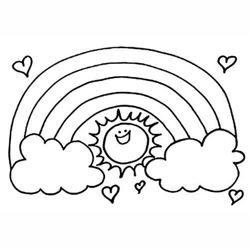 Desenhos de Arco-íris Sol e Nuvens feliz