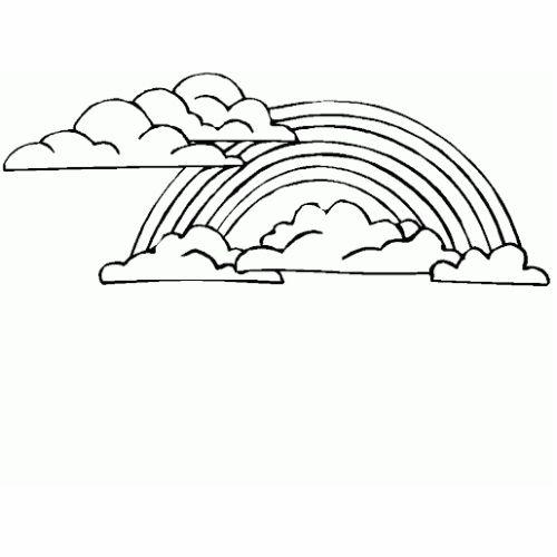 Desenhos de Arco-íris Sol e Nuvens simples