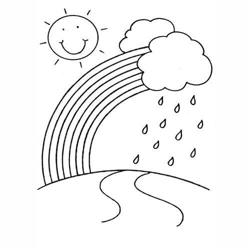 Desenhos de Arco-íris Sol e Nuvens e chuva