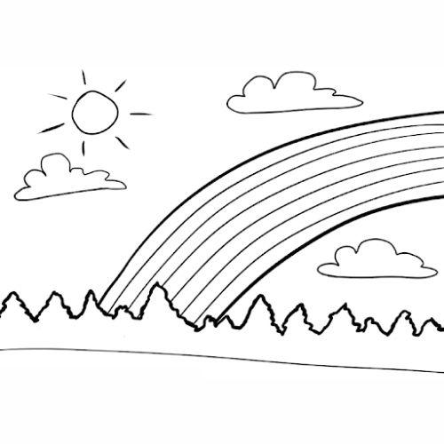 Desenhos de Arco-íris Sol e Nuvens animado