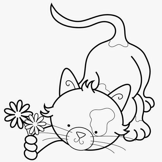 Desenhos de gatos para pintar com amor