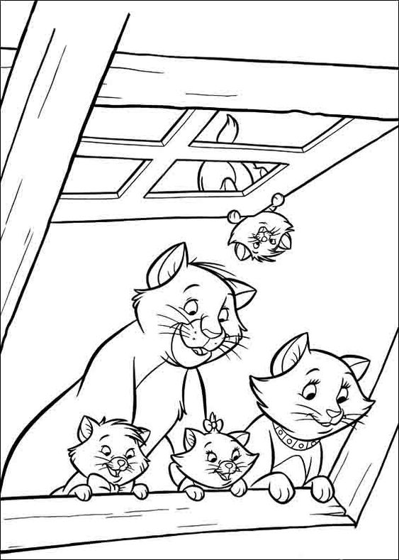 Desenhos de gatos para pintar familía