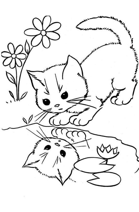 Desenhos de gatos para pintar gentil