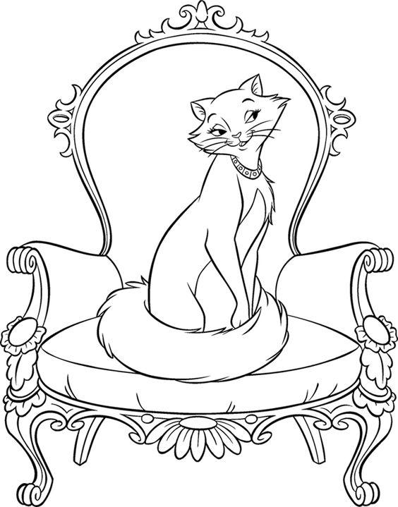 Desenhos de gatos para pintar pomposa