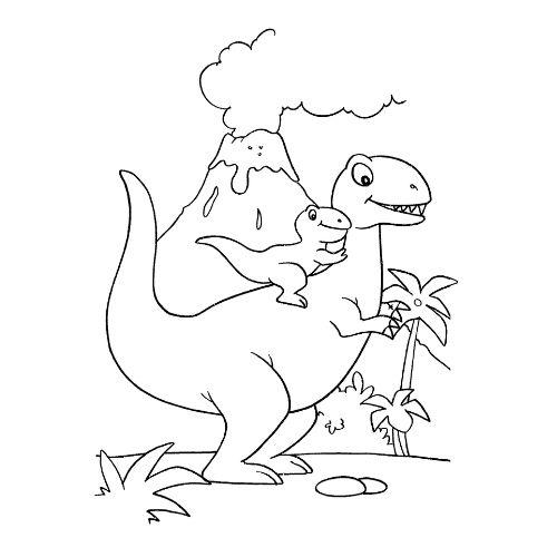 dinossauros para colorir corre do vulcão