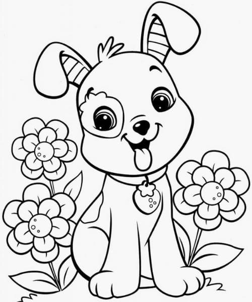 Imagem com desenho fofo de cachorro para colorir