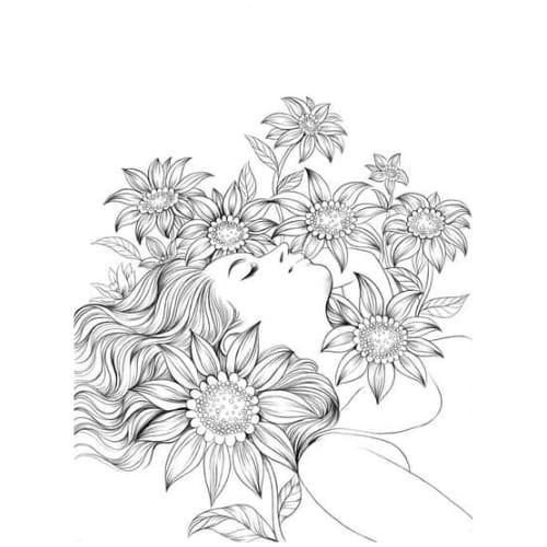 Desenho de flor e menina tumblr para colorir e imprimir